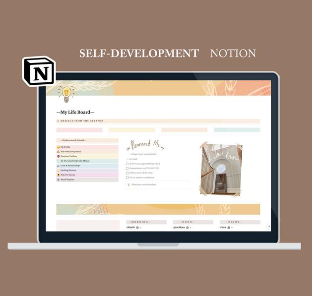 Self Development Aesthetic Notion Template