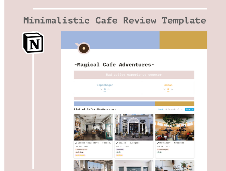 Cafe Review Minimalistic Notion Template