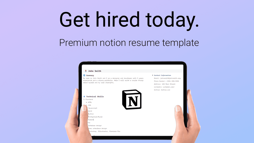Notion Professional Resume Template